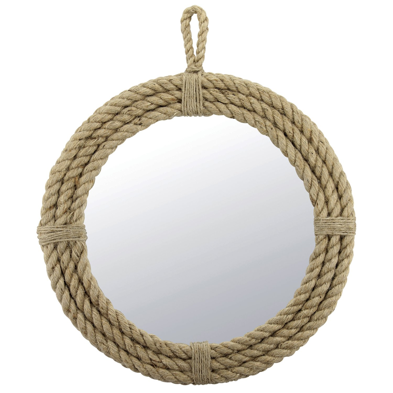 Stonebriar Small Round Wrapped Rope Mirror with Hanging Loop, Vintage Nautical Design