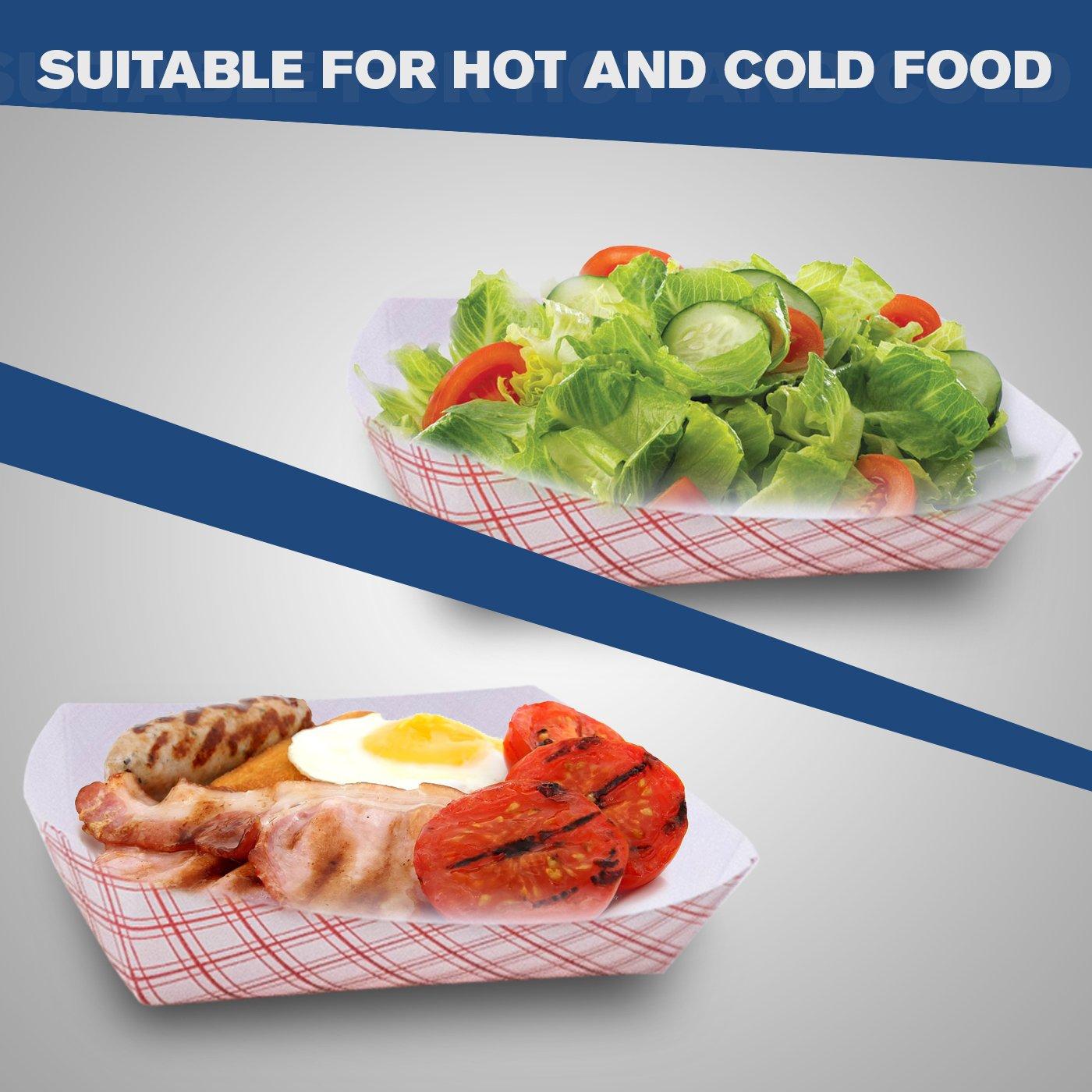 Bandeja de papel para alimentos, capacidad de 2,5lb, ecológica, bandeja de comida roja fabricada en EE. UU. reciclable y biodegradable, aprobada por la FDA, ...