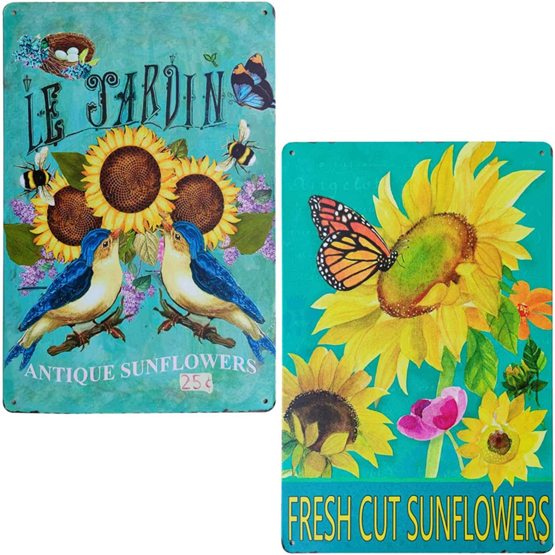 TISOSO Le Jardin Rustic Sunflower Butterfly Birds Vintage Metal Sign Garden Themed Farmhouse Home Decor Bathroom Decorative Signs Plaques 2Pcs-8X12Inch