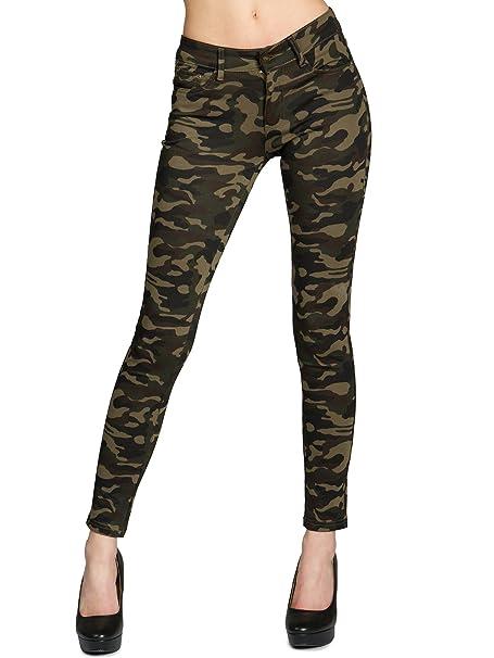 Caspar HLE025 Vaqueros Pitillos para Mujer/Pantalón Legging Camuflaje de Estilo 5 Bolsillos