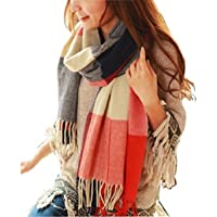 heekpek Winter Long Soft Warm Tartan Check Scarves Wraps for women Wool Spinning Tassel Shawl Long Stole