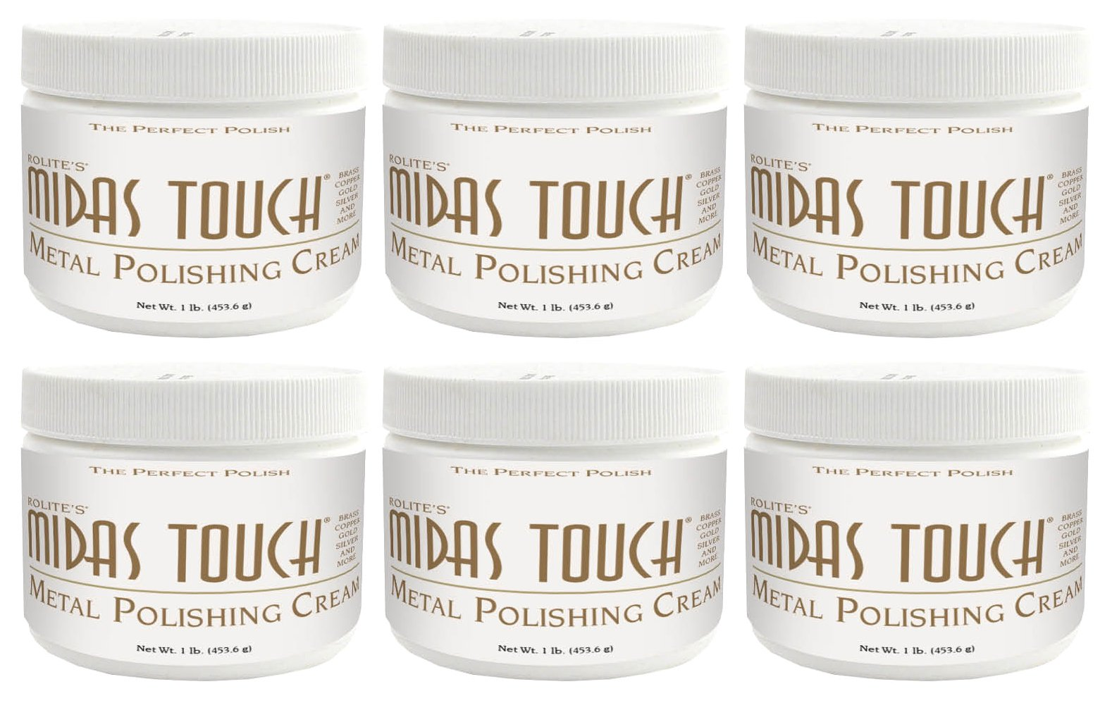 Midas Touch Metal Polishing Cream – 1lb, Cleaner & Polishing Rouge for Sterling Silver, Gold, Brass & Other Metals, 6pack, by Rolite