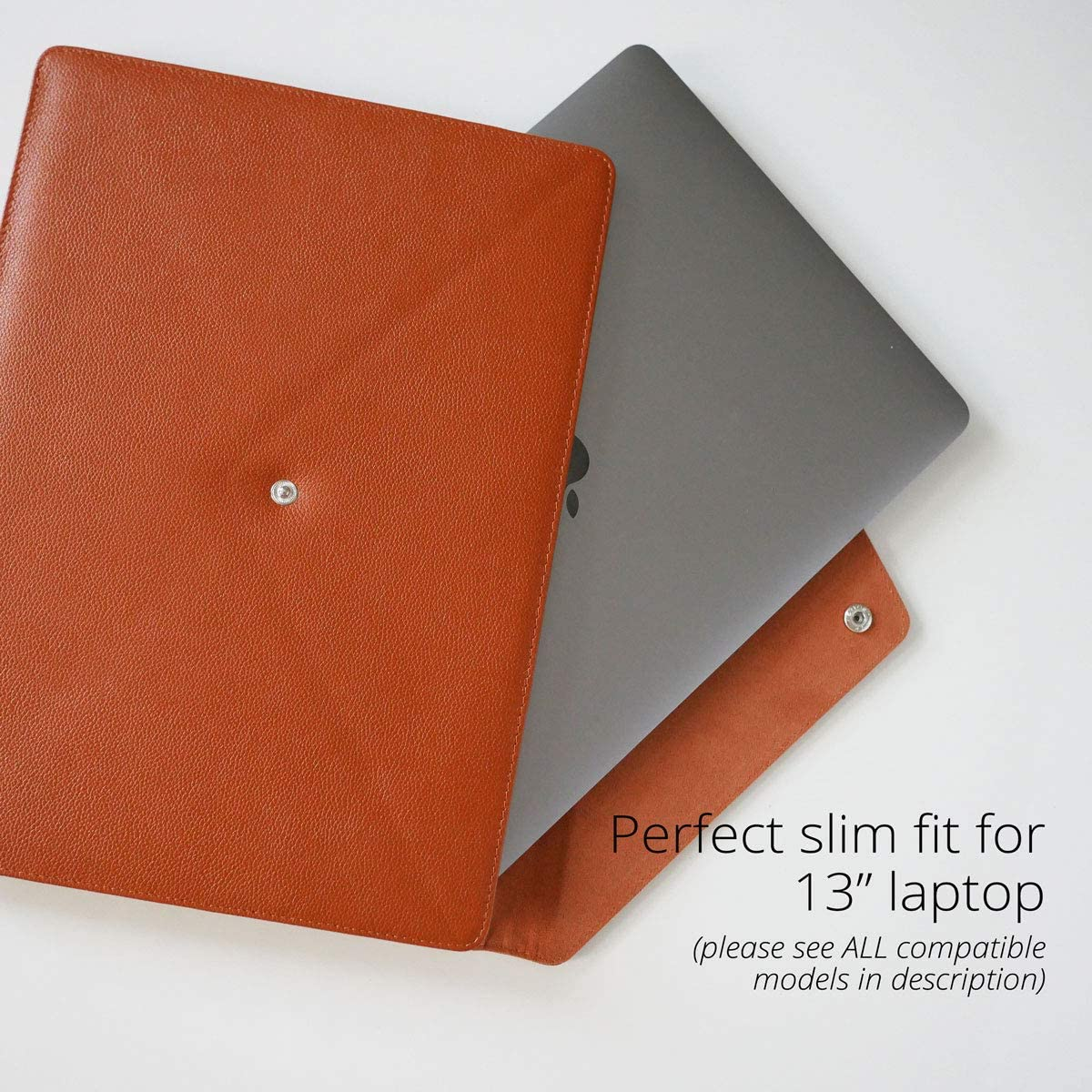 """iPad Pro 12.9/"""" New MacBook Air 13/"""" 2019 Dell XPS 13/"""" Microsoft Surface Pro 12.3/"""" 2018-2019 Italian Full Grain Leather Sleeve//Case for MacBook Pro 13/"""" Retina Brown//Cognac Color Handcrafted"""