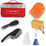 Car Cleaning Kit 6PCS with Car Washing Sponges/ Car Mitts/ Auto Wheel Brush/ Microfiber Dust Cleaner/ Car Brush broom/ Car DustPan Packed Full in FIRSTWAY Storage Bag