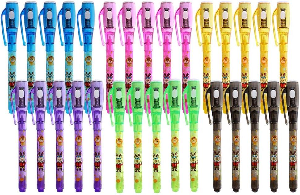 Boligrafo Tinta Invisible, 30 Marcadores Mágicos de con bolígrafos secretos de luz UV para favores de fiesta, detalles cumpleaños infantiles y regalos de bolsa de fiesta