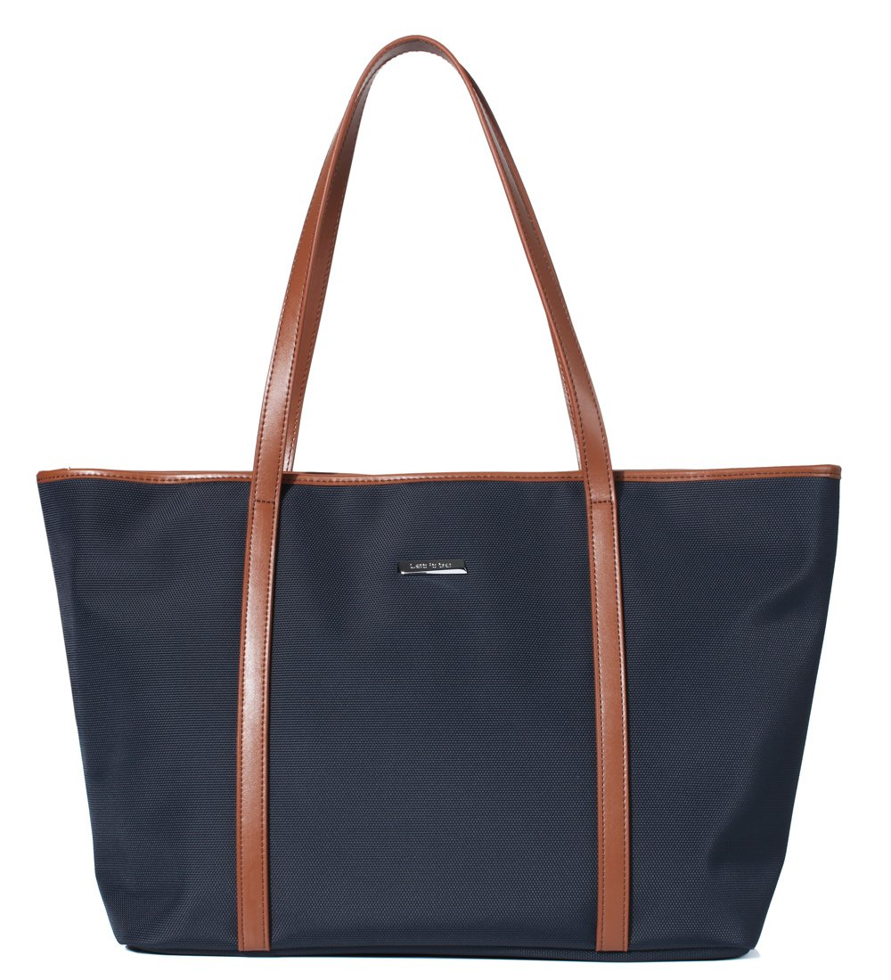 Let It Be Basic Large Travel Tote Shoulder Bag for Women In Blue + Brown by Let It Be