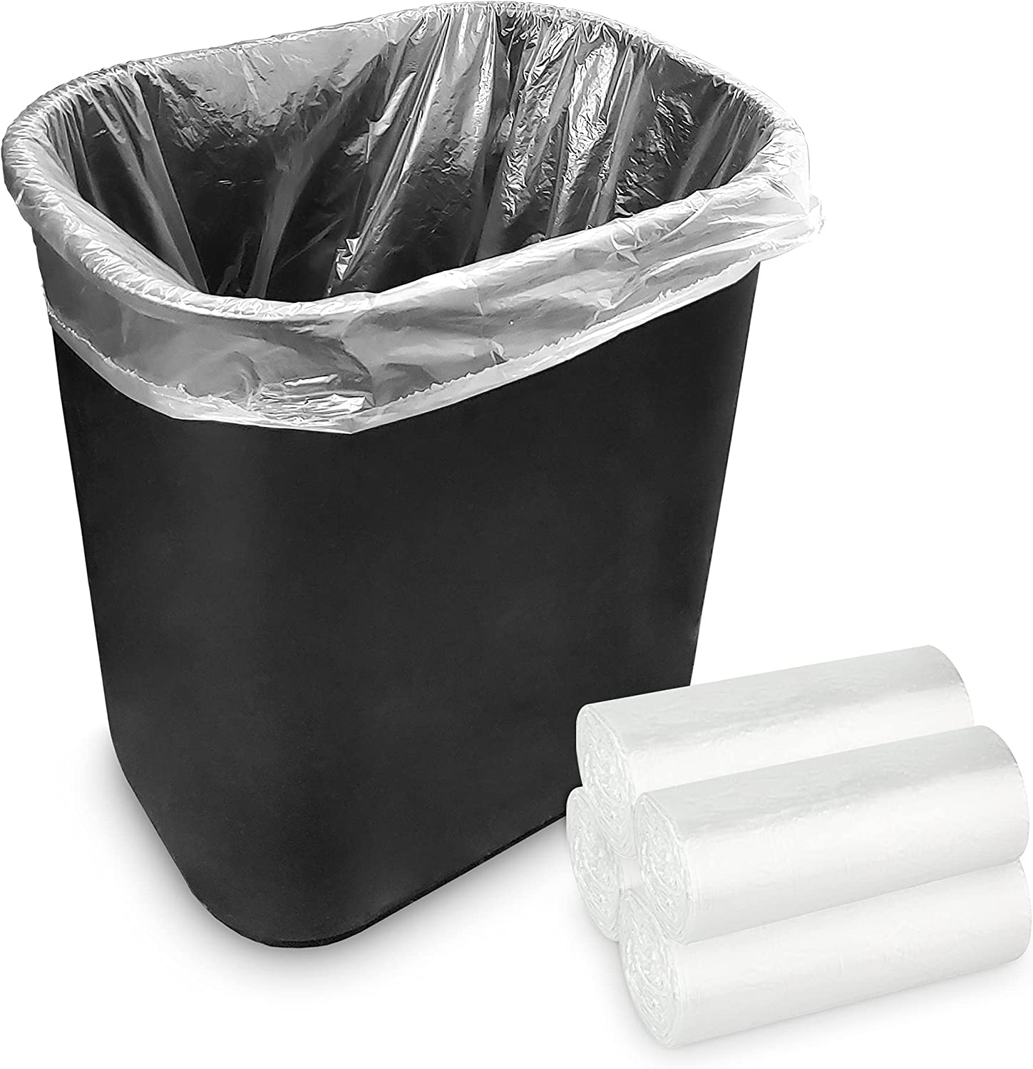 Stock Your Home 2 Gallon Clear Trash Bags (200 Pack) - Disposable Plastic Garbage Bags - Leak Resistant Waste Can Liner - Small Bags for Office, Bathroom, Deli, Produce Section, Dog Poop, Cat Litter
