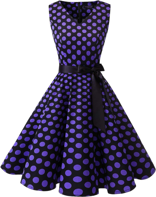 TALLA XXL. Bridesmay Vestido de Cóctel Fiesta Mujer Verano Años 50 Vintage Rockabilly Sin Mangas Pin Up Black Purple Dot XXL