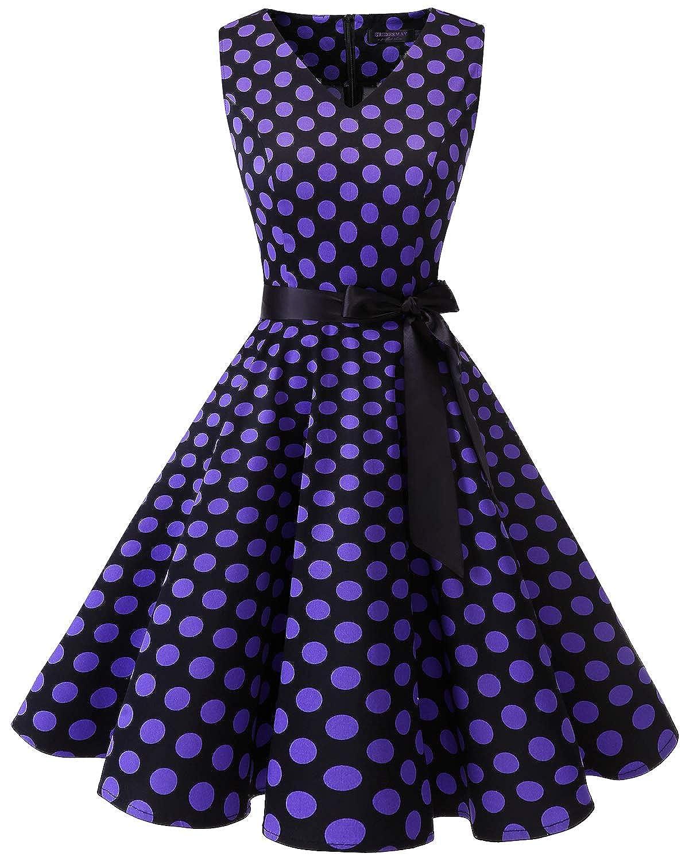TALLA 3XL. Bridesmay Vestido de Cóctel Fiesta Mujer Verano Años 50 Vintage Rockabilly Sin Mangas Pin Up Black Purple Dot 3XL