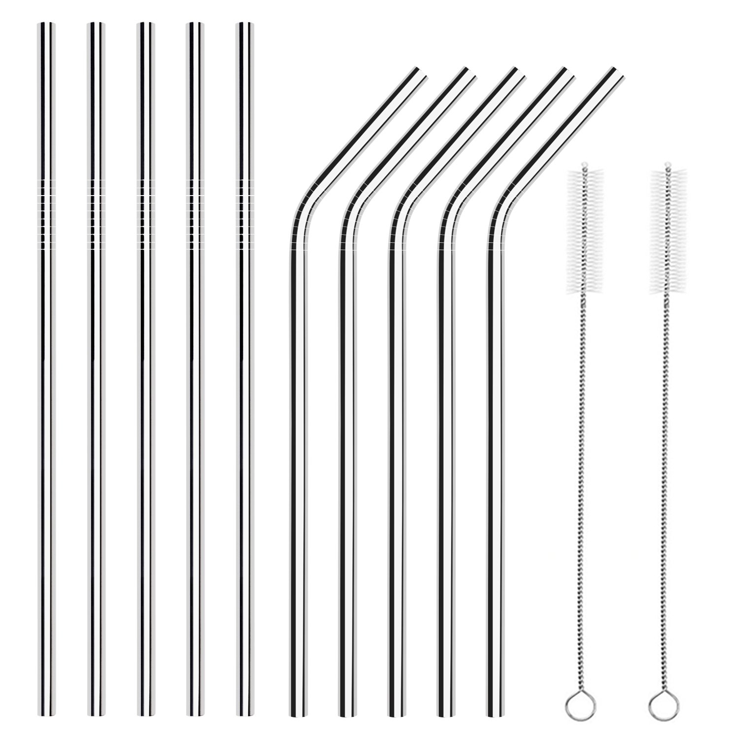 CIEHER 12 CIEHER Set of 10 Stainless Steel Straws 10.5 Inches Reusable Metal Drinking Straws FDA Approved 2 Cleaning Brushes Included 241mm 9.5 Inches (5 Bent Straws + 5 Straight Straws + 2 Brushes)