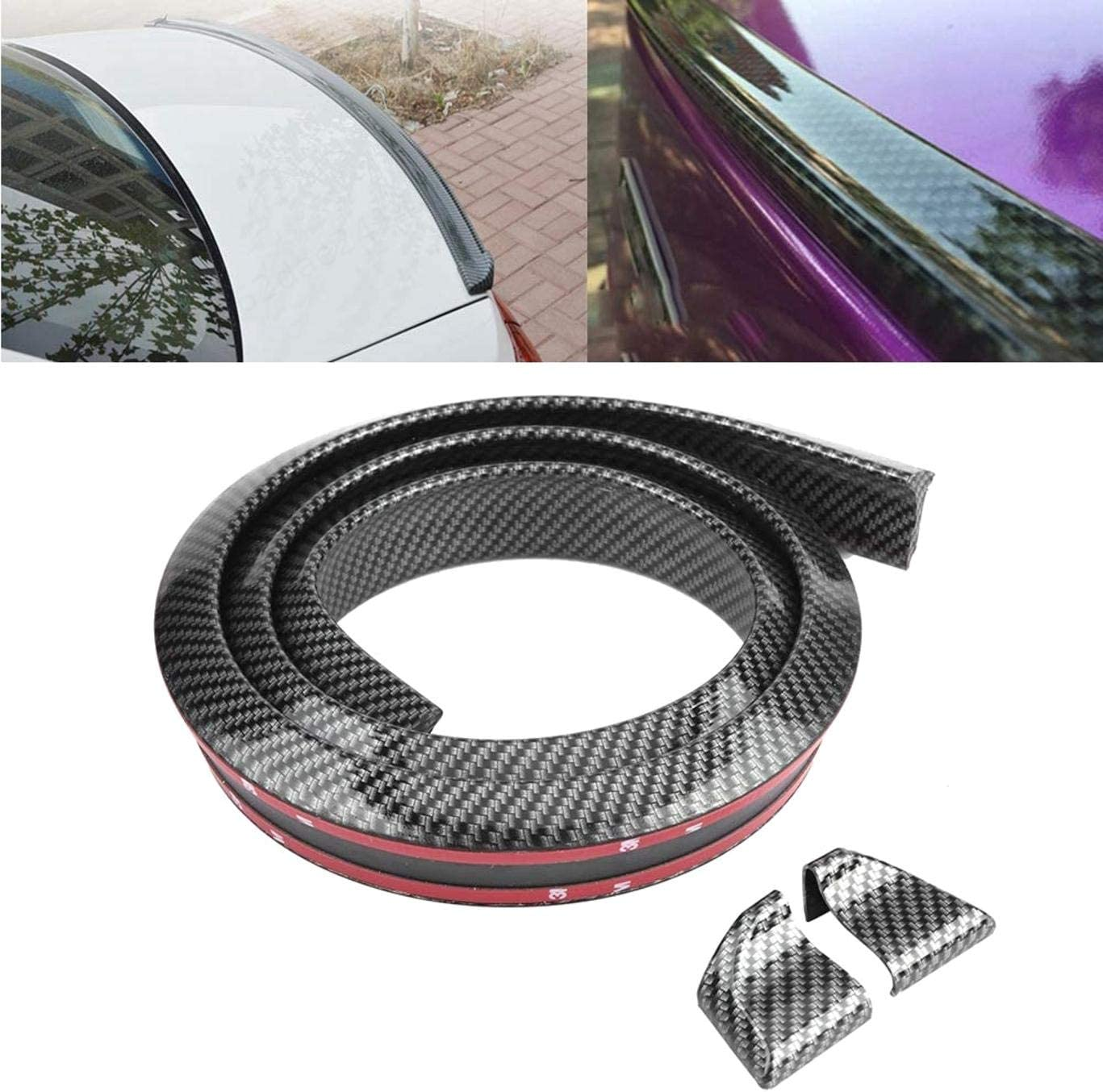 DULALA Spoiler Trasero Universal 1.6m / 5.2 InchCar Spoiler Trasero Cinta Carbono Cola Decoración Fibra de Carbono Soft Rubber Car Rear Roof Trunk Spoiler Wing Lip Sticker Protect