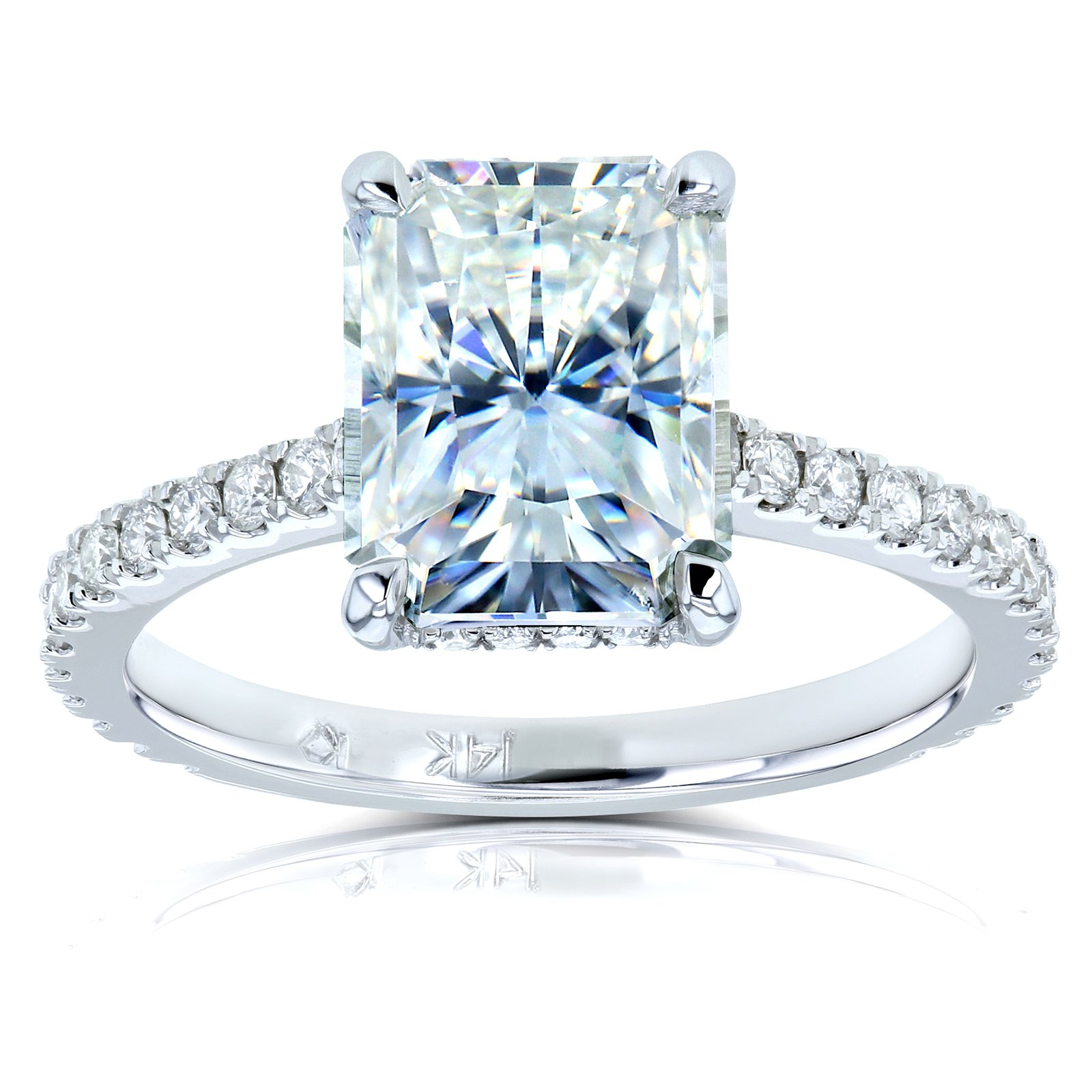 Radiant-cut Moissanite and Diamond Engagement Ring 3 1/10 CTW 14k White Gold (DEF/VS, GH/I), 6