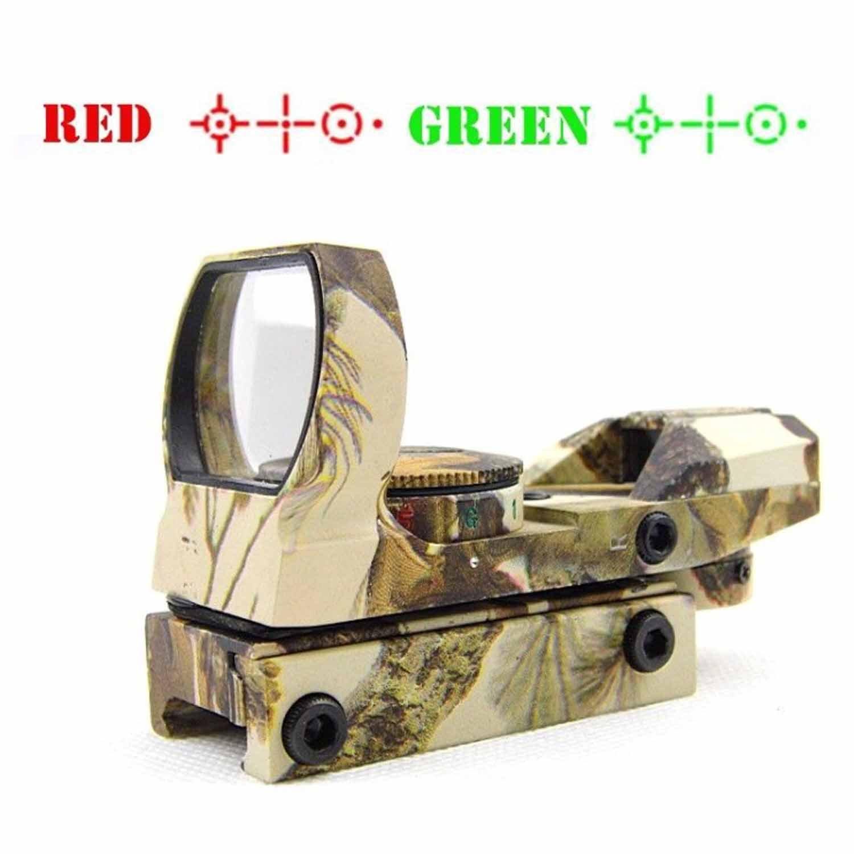 MAYMOC pista de 20 mm parte inferior ajustable. Láser visión Multi retícula 4 rojo punto vista alcance montar cola de Pato caza y accesorios de la cámara al aire libre (Camouflage)