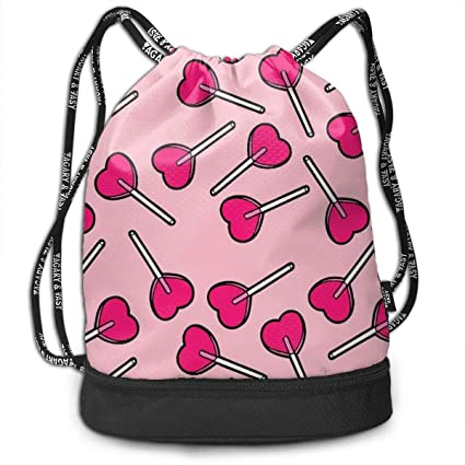 c633dc1f20dd Love Heart Lollipop Pink Drawstring Bag Traveling Swiming String Bag Large  Capacity Beam Backpack