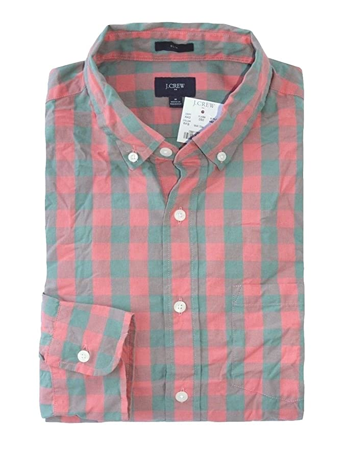 cd0b2ba3d4d7 J Crew Factory - Men s - Slim Fit - Pink Pewter Gray Gingham Washed Cotton  Shirt (X-Small) at Amazon Men s Clothing store