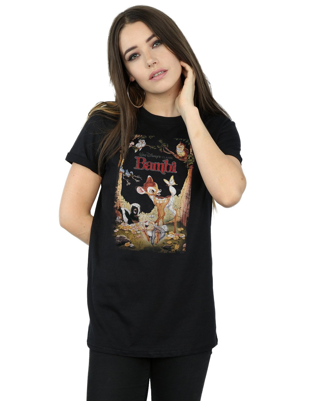 Disney Women's Bambi Retro Poster Boyfriend Fit T-Shirt Medium Black