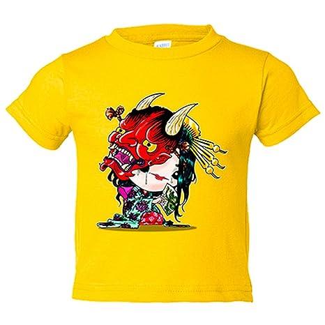 Camiseta niño Chibi Kawaii Hannya parodia de los Yokai Japoneses Nikochan - Amarillo, 3-