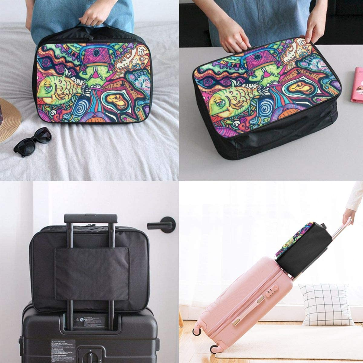 Abstract Painting Travel Carry-on Luggage Weekender Bag Overnight Tote Flight Duffel In Trolley Handle