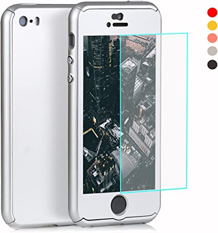 Cover 360 gradi per iPhone SE, 5S, 5, con vetro temperato