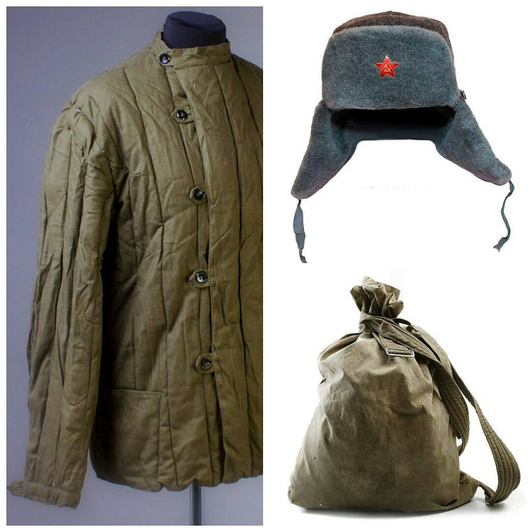 SET 3 USSR Vintage Telogreika Padded jacket + Ushanka + Backpack Different size M by Made in USSR