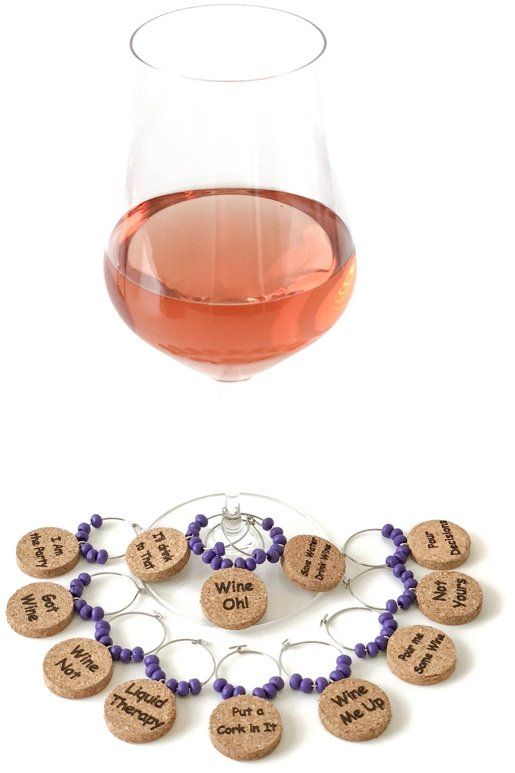 Natural Cork Wine Charms/Wine Glass Markers with Humorous Phrases. Set of 12 Eco-Friendly Drink Charms Made of Cork with Wood Beads by Cork & Leaf.