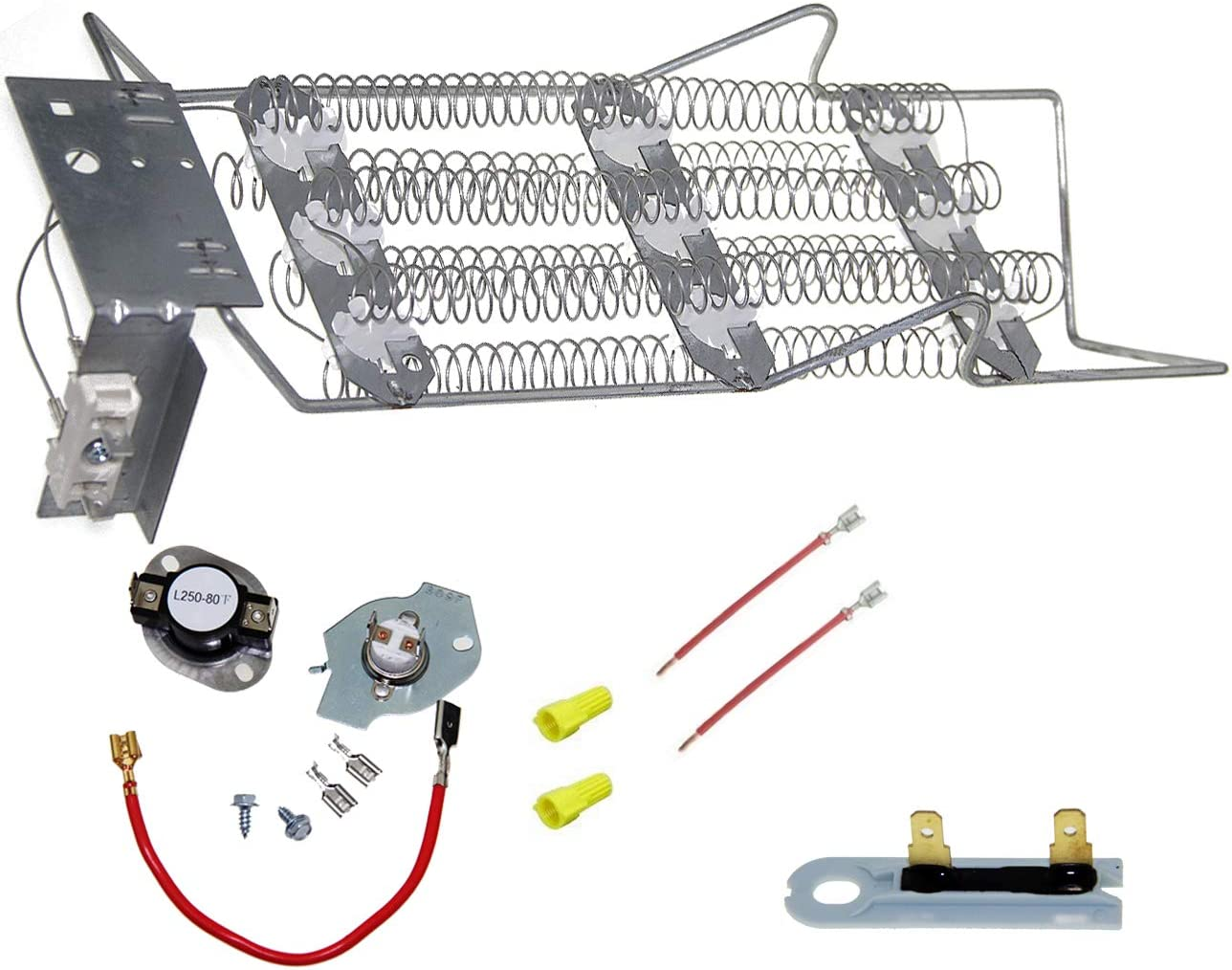 4391960 Dryer Heating Element & 279816 Thermostat kit & 3392519 Thermal Fuse, Compatible with Kenmore WP4391960
