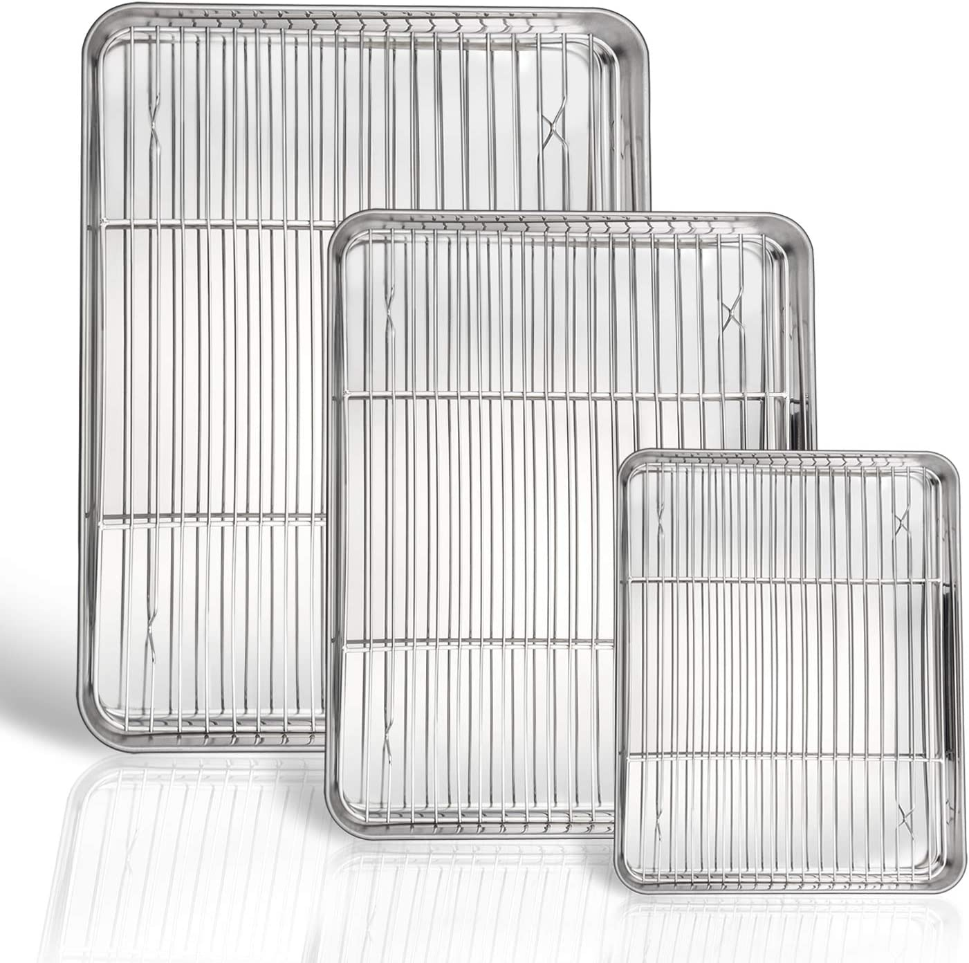 P&P CHEF Baking Sheet and Rack Set, 6 PACK (3 Sheets + 3 Racks), Stainless Steel Baking Cookie Sheets Pans with Cooling Rack for Baking and Roasting, Oven & Dishwasher Safe