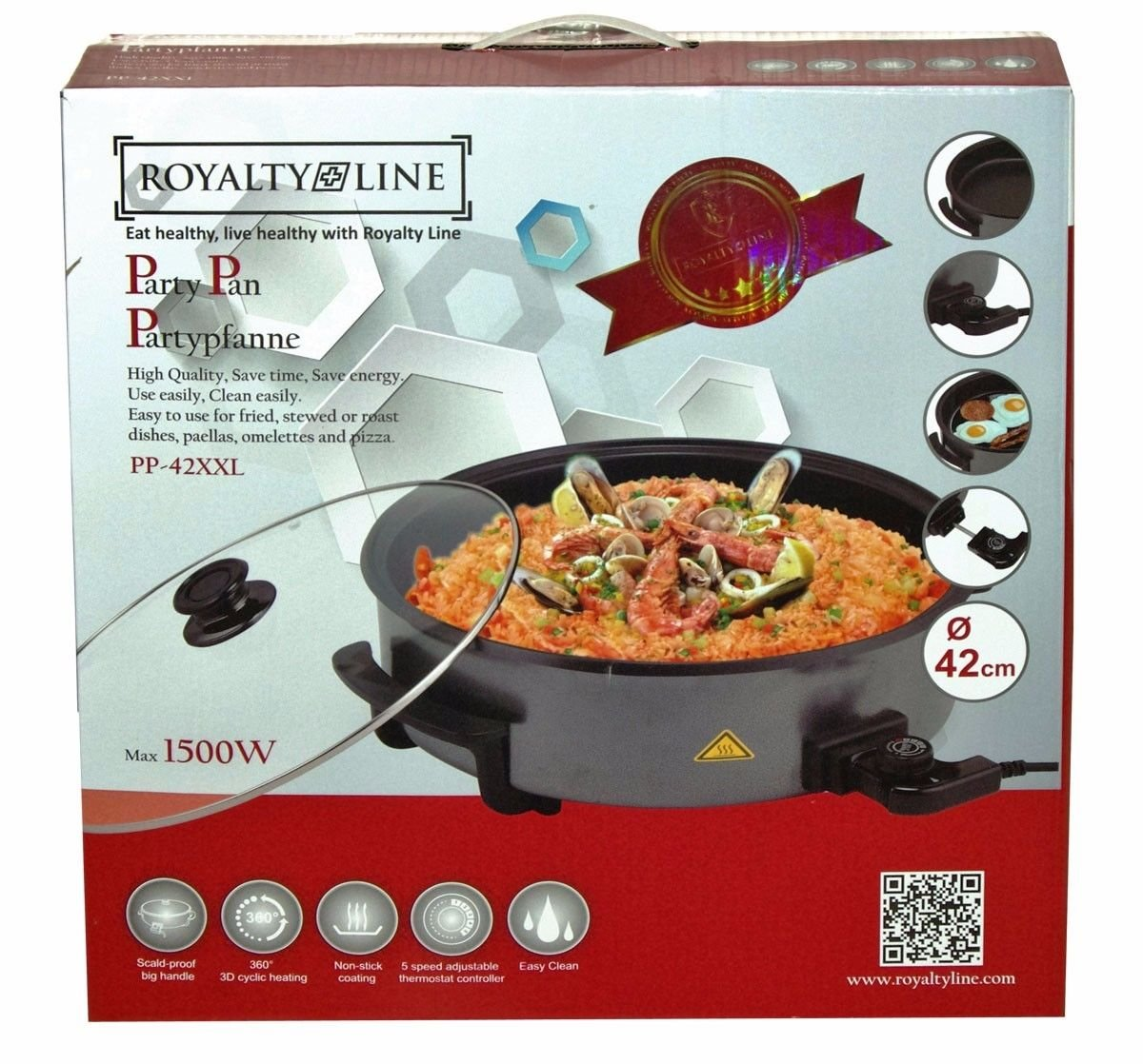 ROYALTY LINE party padella Pizza pan 42 cm PP 42xxl OVP martello grande Top qualità!