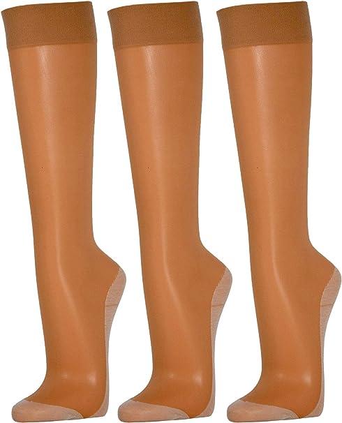 Disée - 3 pares de medias de rodilla fina 20den con suela de algodón, color carne, cintura cómoda, de seda mate transparente: Amazon.es: Ropa y accesorios