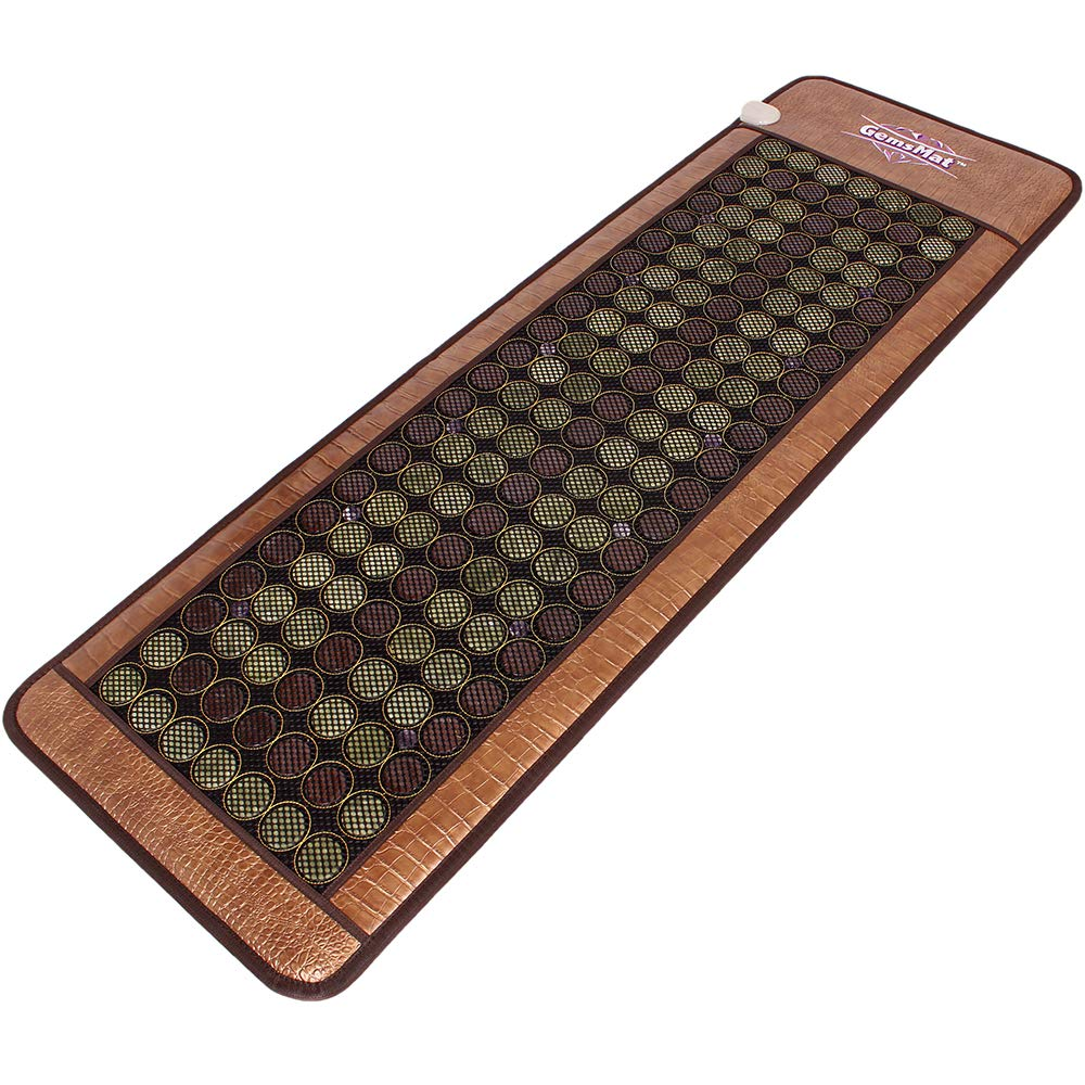 GemsMat - Henri- Far Infrared 12 Amethyst, 90 Jade, 64 Tourmaline Bead Heat Stone Mat (72''L x 24''W) - FIR Therapy -FDA Registered Manufacturer - Adjustable Timer & Temperature - Heating Pad