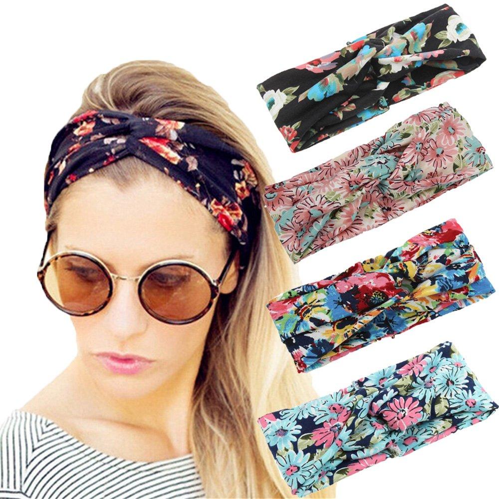 Amazon.com: 4 Pack Women Elastic Turban Head Wrap Headband ...