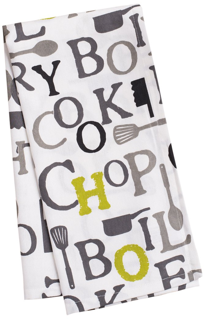 LinenTablecloth Charcoal Chef Print Kitchen Towels, 2-Pack
