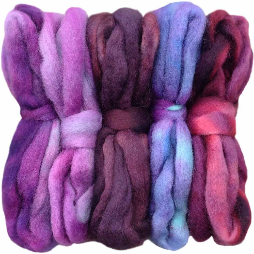 Hand Dyed Super Soft BFL Wool Spinning Fiber Purple Haze Felting Blending and Weaving 5 Beautifully Colored Mini Skeins Discount Pack Lustrous Long Wool Top Roving pre-drafted for Hand Spinning