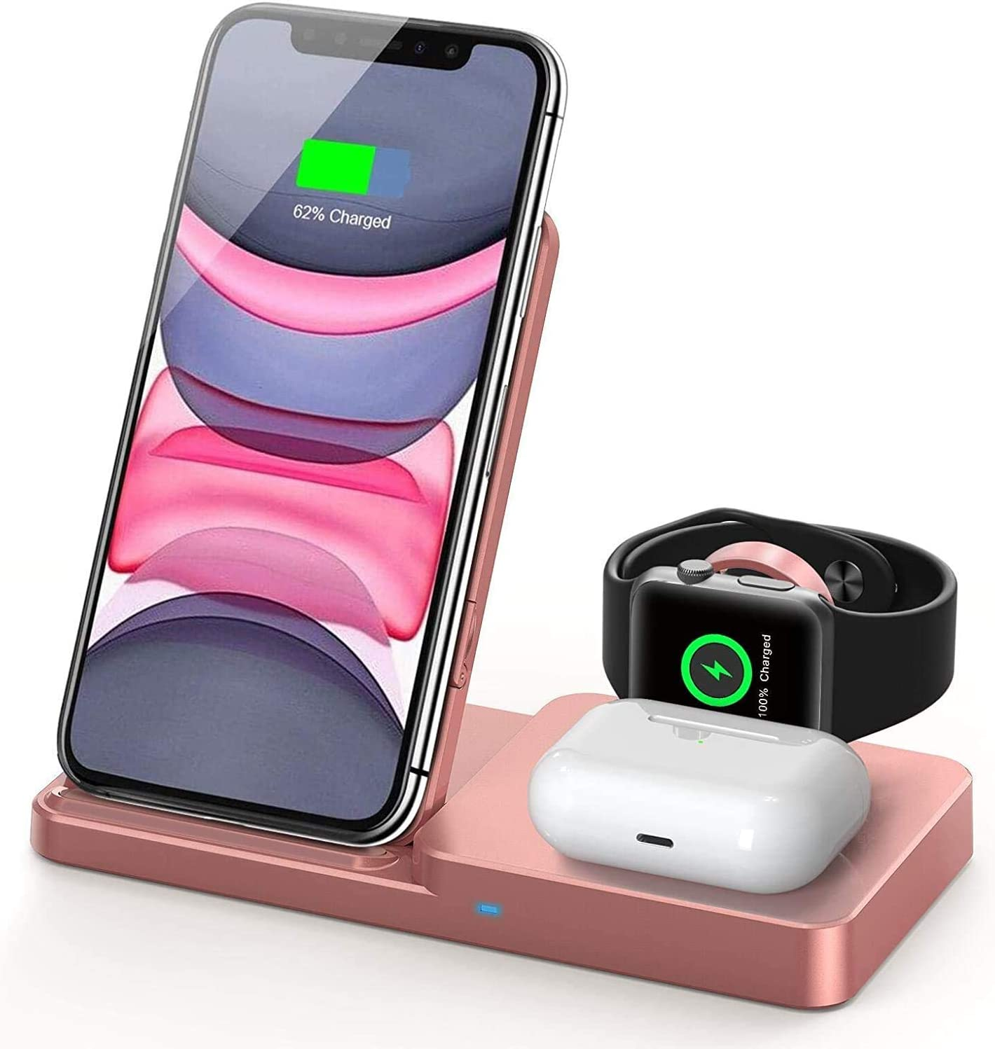 QI-EU Wireless Charger, Qi-Certified Fast Wireless Charging Station for AirPods/Apple Watch Series/iPhone 12/11/11 pro/11 Pro Max/XS/XS Max/XR/8/8 Plus/SE,Adjust Wireless Charging Stand for Samsung