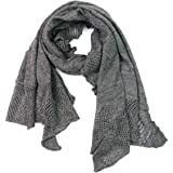 UNDER ZERO UO Women's Pointelle Lace Grey Knit Wrap Scarf Lightweight Warm Shawl
