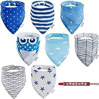 Lictin 8 pcs baberos Bufanda triángulo para bebés hechos con algodón súper absorbente para bebés y niños pequeños con 1…