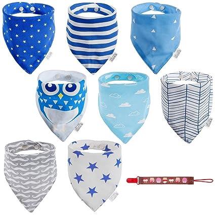 Lictin 8 pcs baberos Bufanda triángulo para bebés hechos con algodón súper absorbente para bebés y niños pequeños con 1 sujetadores de Cadenas para ...