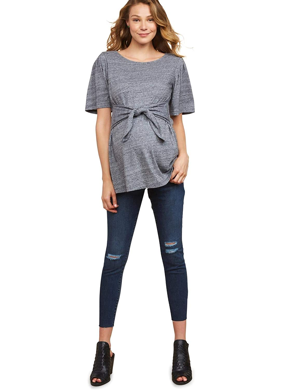 ea924588865eb Jessica Simpson Women's Maternity Secret Fit Belly Destructed Ankle Length  Denim Jegging, Dark wash, X-Small: Amazon.co.uk: Clothing