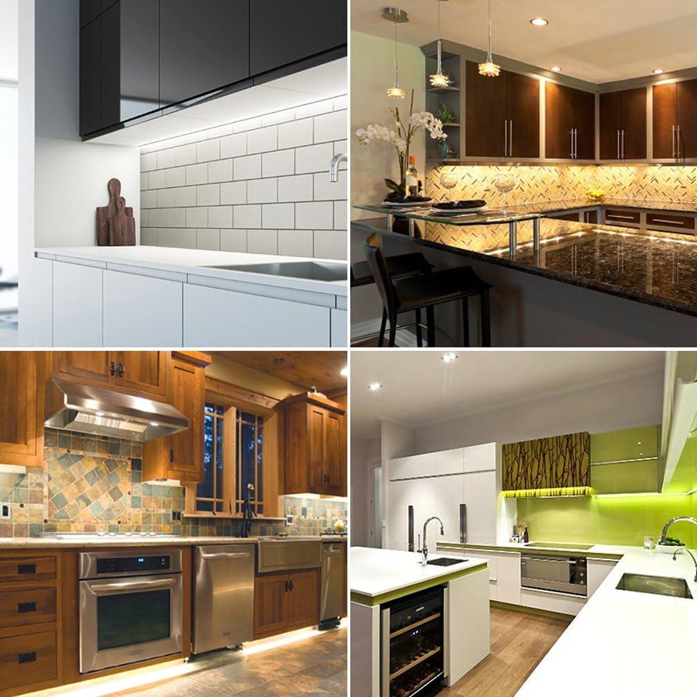 Kit de luces LED regulables para encimeras o armarios de cocina de Simpome. Kit estándar con 6 paneles, 27 W en total, equivalente a 60 W de un tubo fluorescente, 2.400 lúmenes,