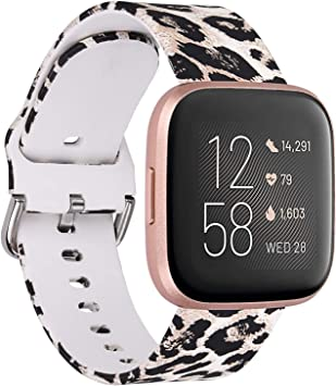 Maledan Compatible with Fitbit Versa//Fitbit Versa 2//Fitbit Versa Lite Bands for Women Men Small Silicone Pattern Water Resistant Wristband Replacement for Fitbit Versa Smart Watch Leopard