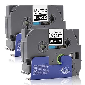 """3x TZe231 12mm 0.47/"""" 8m Schriftband für Brother P-touch PT-D210 schwarz auf weiß"""