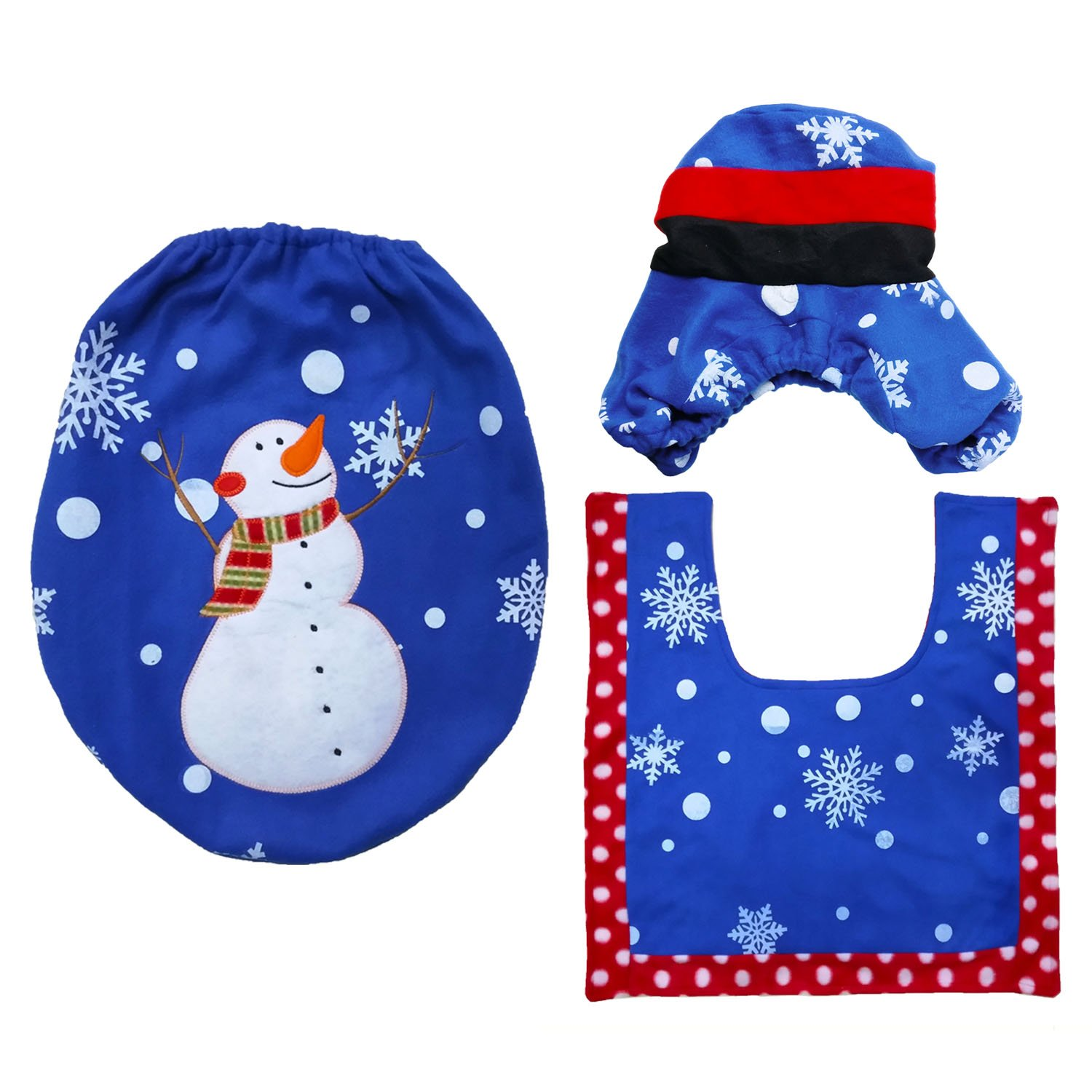 3 PCS Merry Christmas Decorations Happy Santa Toilet Seat Cover Rug Tank Cover Bathroom Set Christmas Home Decor Elf Style Gosear