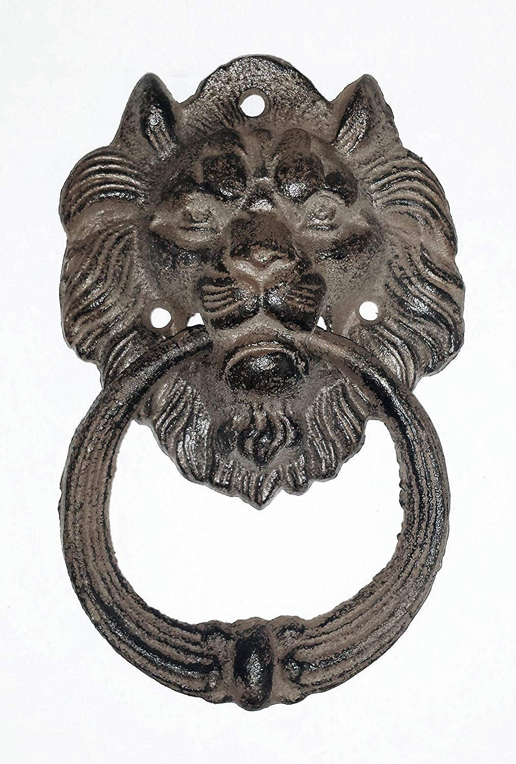 ''ABC Products'' - Heavy Cast Iron - Hammer Door Knocker - Shape of A Lion's Head - All-Purpose Hanging Ring - (Antique Rustic Bronze Finish - for Homes, Log Cabins, Cottage and More)