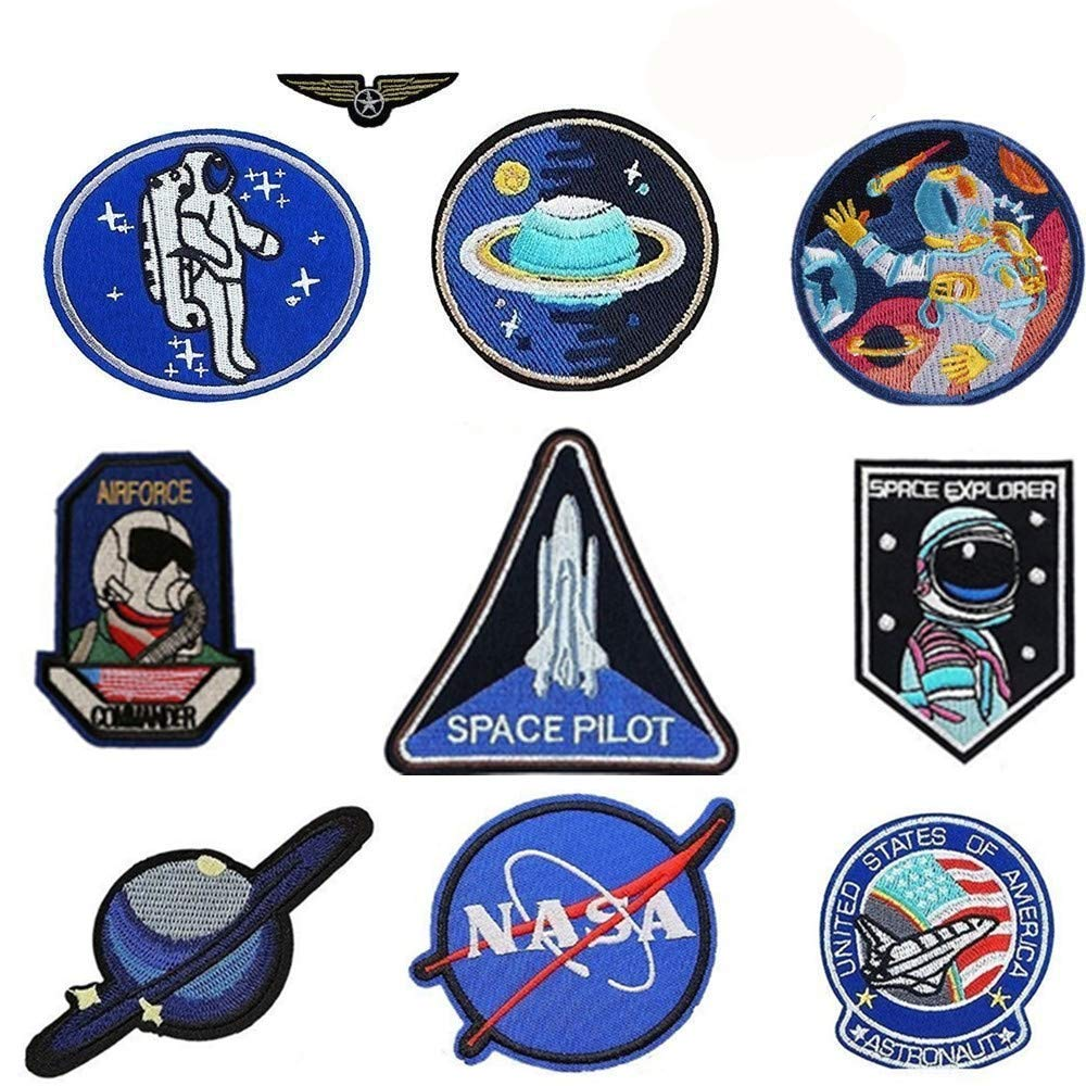 SANSUI 10 Pcs NASA Patches Iron On Jackets, Space Patches Motif Applique Sew on with Iron Heating for Decoration of Characteristic Jeans Wear to Show Your Style (10 PCS)