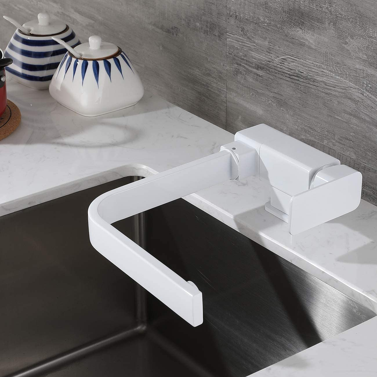 Grifo De Agua Fr/ía Y Caliente Giratorio Grifo Creativo Ventana Interior Plegable Fregadero De Cocina SJQKA Grifo Cocina Abatible Blanco Todo De Cobre