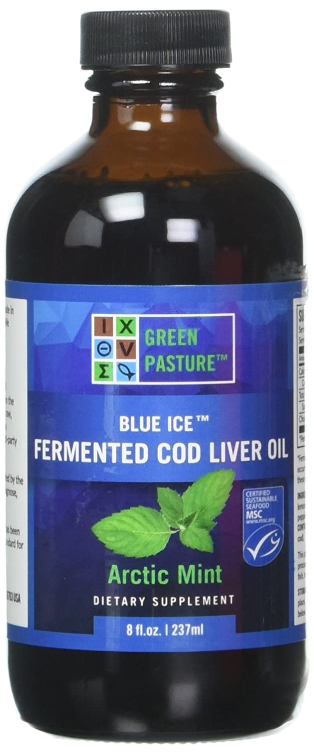 Green Pasture Blue Ice Fermented Cod Liver Oil Liquid, Arctic Mint, 8 fl oz: Amazon.es: Salud y cuidado personal