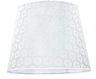 Stoffschirm LAMPENSCHIRM STEHLAMPE TISCHLAMPE  rund WEISS  38 x 22 cm FÜR E 27