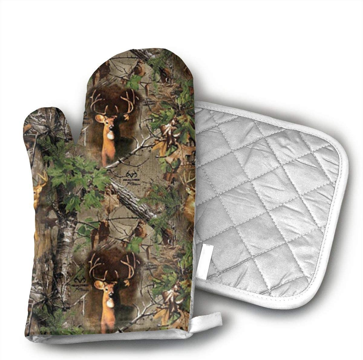 Star Blue Design Real Tree Camo Deer Turkey Woods Oven Mitts & Heat Resistant Pot Holder - with Polyester Cotton Non-Slip Grip, Best Used As Baking, Grilling, BBQ, Cooking, Kitchen Or Oven Gloves