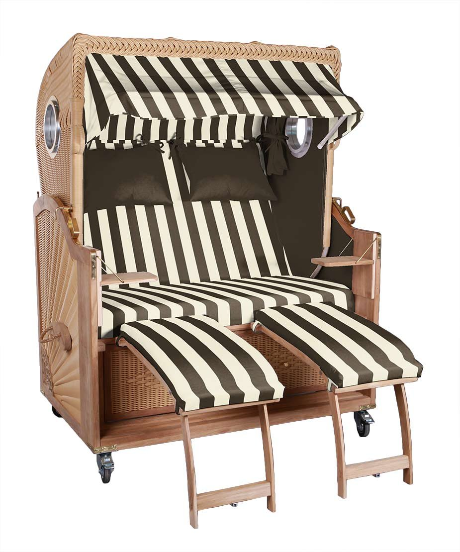 Strandkorb Kampen 2,5 Sitzer Spezial in Provence (braun/beige), gestreift