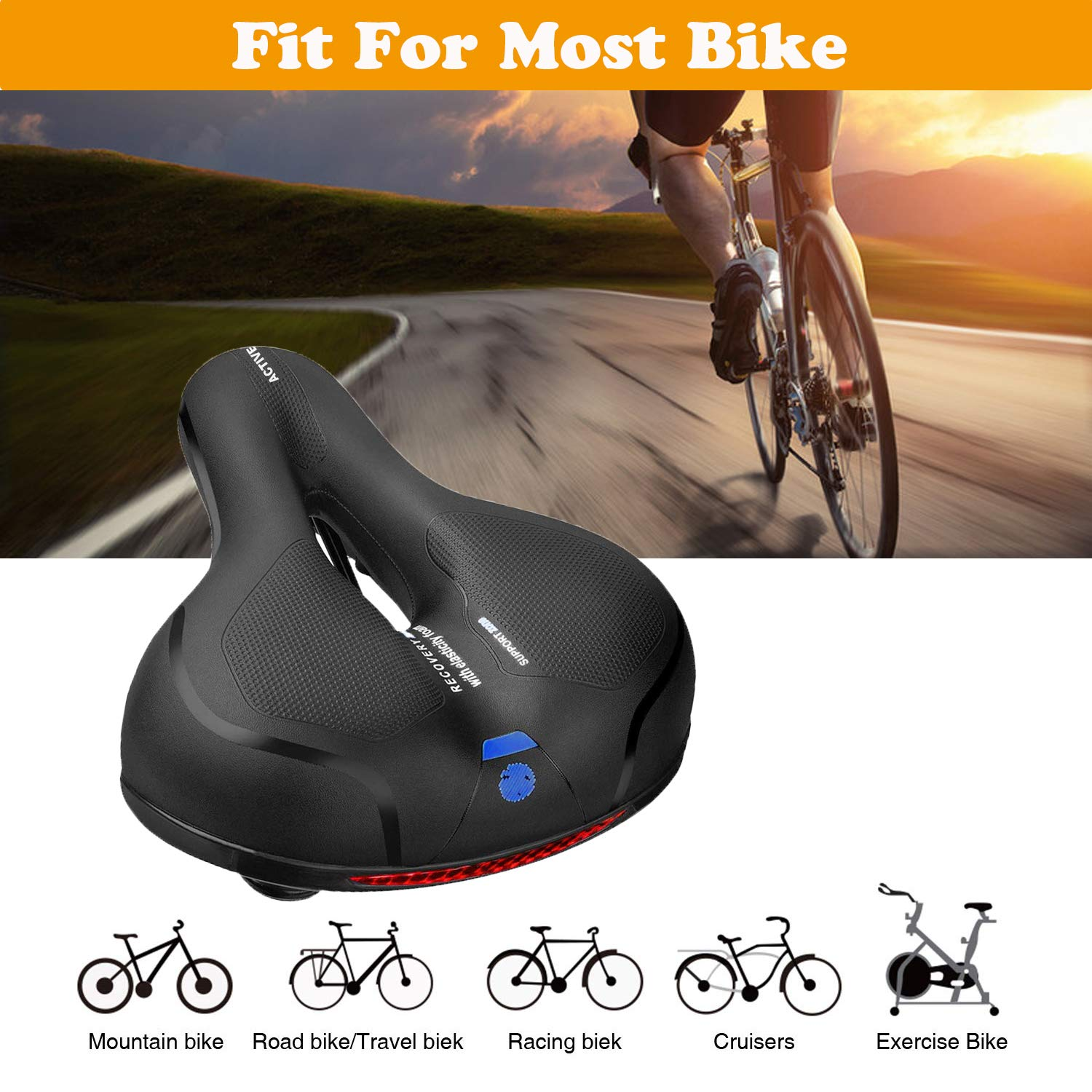 MSDADA Comfortable Bike Seat-Padded Soft BikeSeatCushion Memory Foam Waterproof Wide Bike Saddle with Dual Shock Absorbing Rubber Balls Universal Fit for Indoor/Outdoor Bikes with Reflective Strip by MSDADA (Image #5)